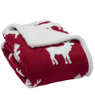 Κουβέρτα καναπέ χριστουγεννιάτικη με γούνα sherpa das home 407 130x170