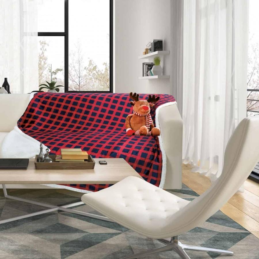 Κουβέρτα καναπέ με γούνα sherpa fleece 369 130x160