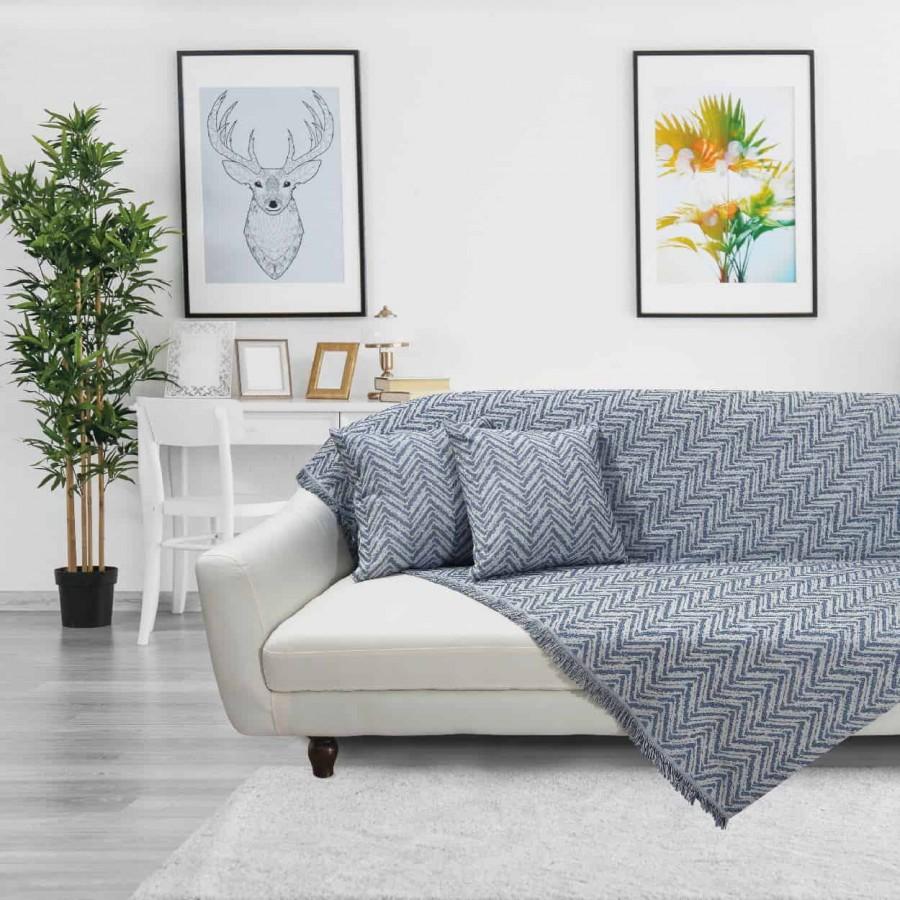 Ριχτάρι Διθέσιου Das Home 142 Throws 180x250 Μπλέ-Εκρού