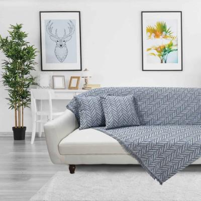 Ριχτάρι Τριθέσιου Das Home 142 Throws 180x180 Μπλέ-Εκρού