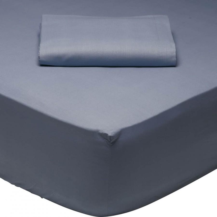 Σεντόνι Μονό Μονόχρωμο με λάστιχο Μπλέ 1006 Das Home 110x200+35