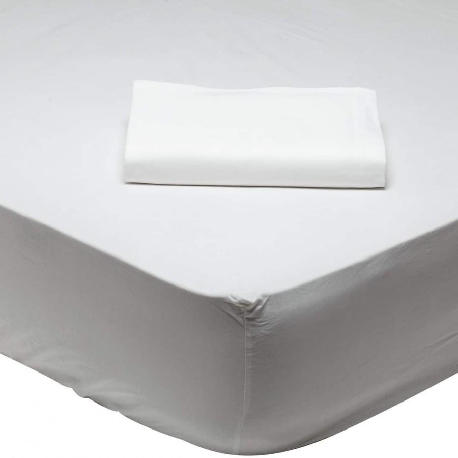 Σεντόνι Μονό Μονόχρωμο με λάστιχο Λευκό 1001 Das Home 100x200+35