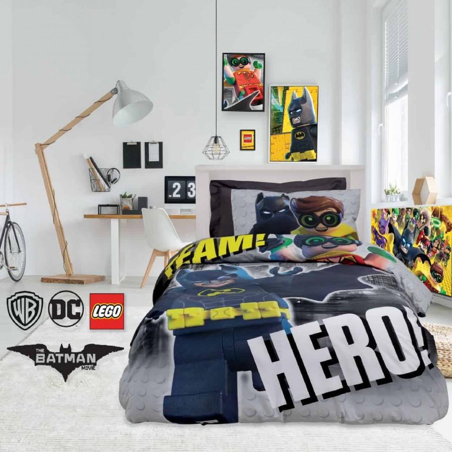Σετ Παπλωματοθήκη Μονή Lego Batman 5004 160x240