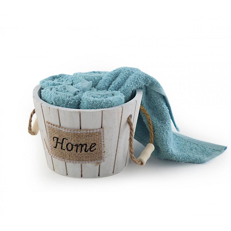 Καλαθάκι Home Με Λαβέτες Σετ 5 τμχ 934-Aqua 30x30