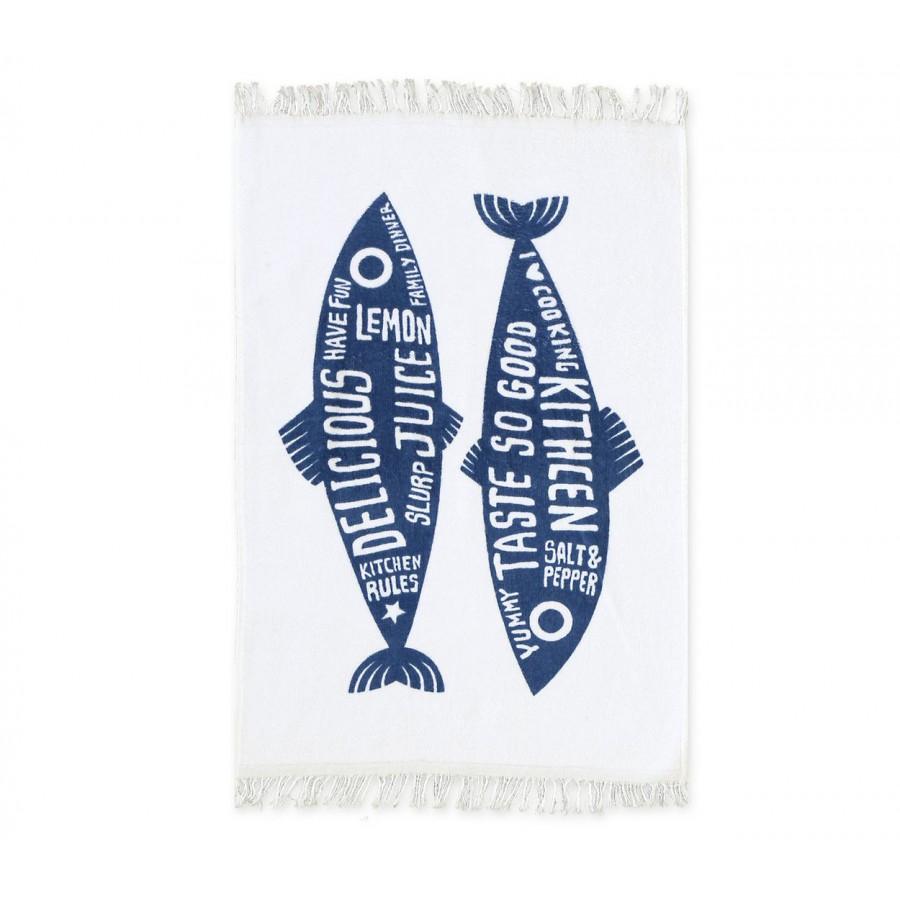 Ποτηρόπανο Trendy Fish Blue 40x60