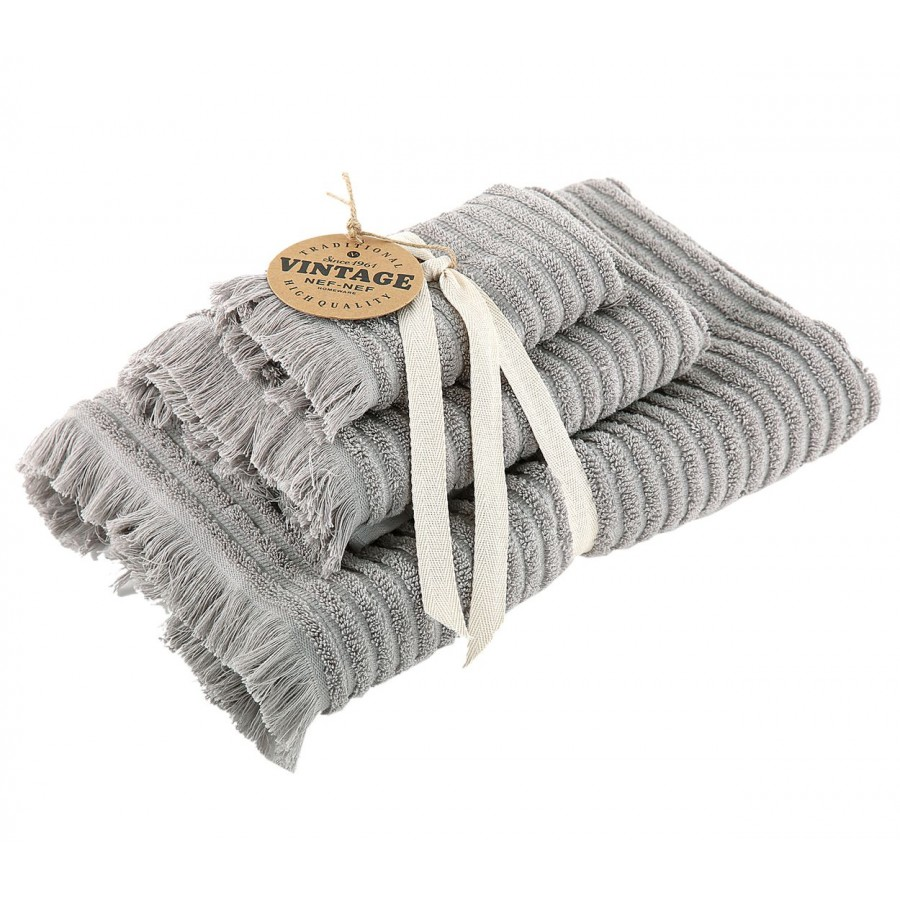 Σετ Πετσέτες 3 τμχ Vintage Grey 30x50 - 50x90 - 70x140