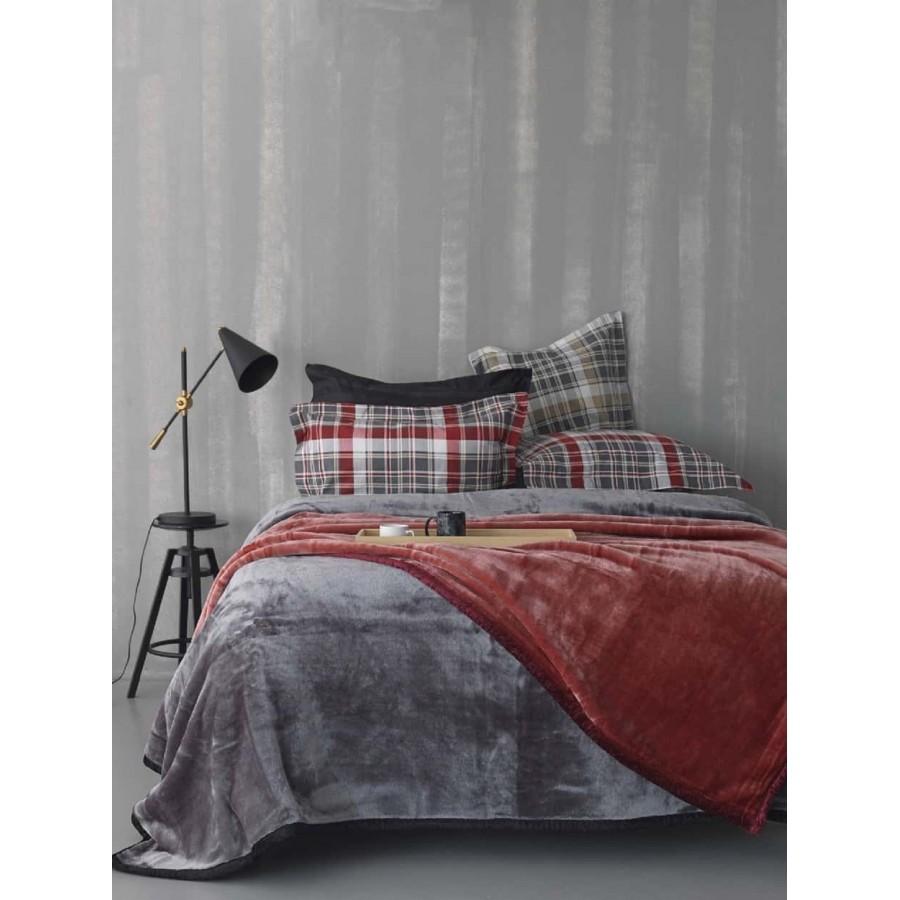 Υπέρδιπλη Κουβέρτα chic velvet Κόκκινο 220X240 Palamaiki