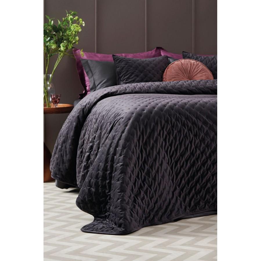 Κουβερλί King Size Polyester Velvet Carrie Grey Palamaiki 240X260