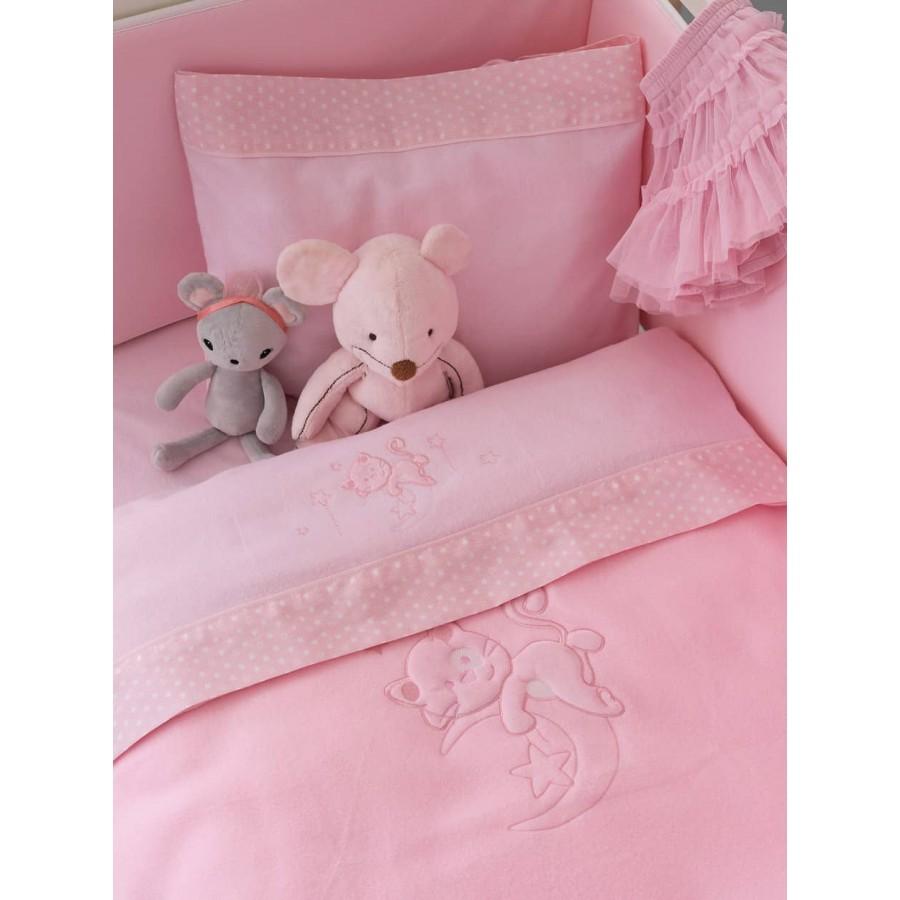 Κουβέρτα κούνιας fleece bj562 Ροζ 100X150 Palamaiki