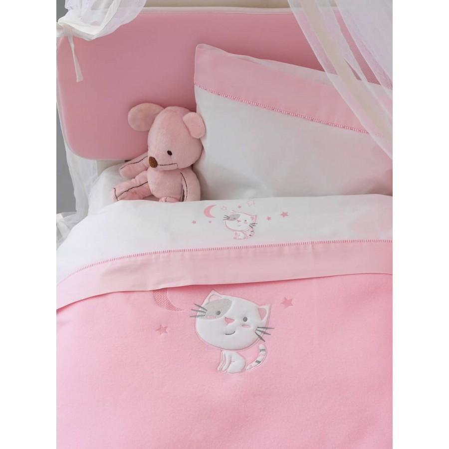 Κουβέρτα κούνιας fleece bj565 Ροζ 100X150 Palamaiki