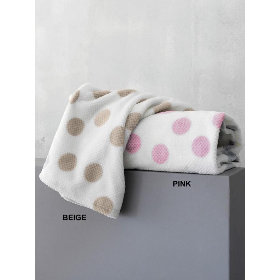 Κουβέρτα κούνιας fleece dots Μπέζ 110X140 Palamaiki