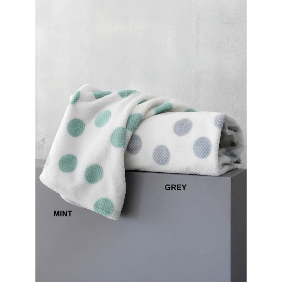 Κουβέρτα κούνιας fleece dots Μέντα 110X140 Palamaiki