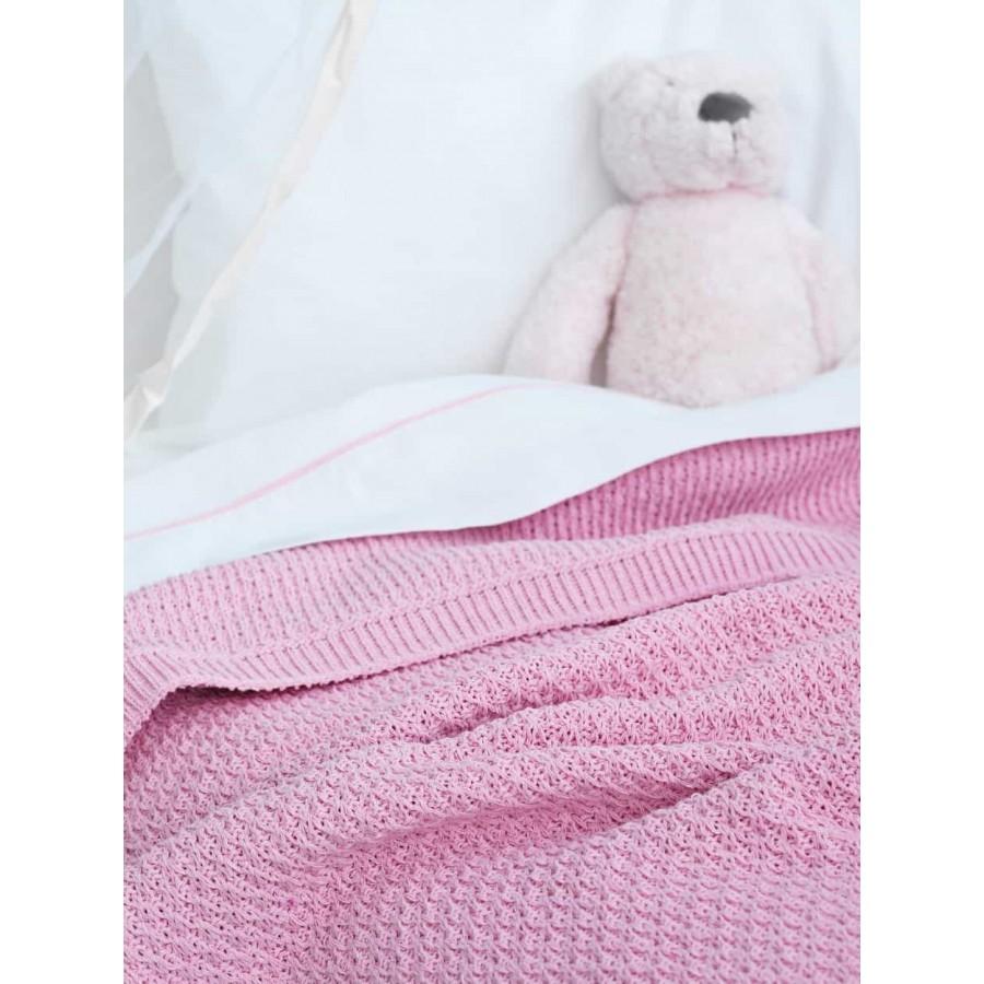 Κουβέρτα κούνιας Πλεκτή sia Ροζ 110X150 Palamaiki