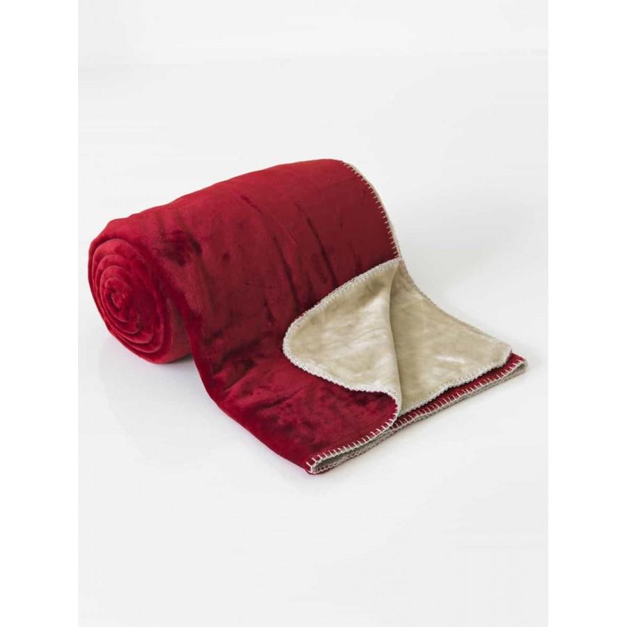 Κουβέρτα Διπλής Όψεως Fleece Μονή Abbracio Cherry