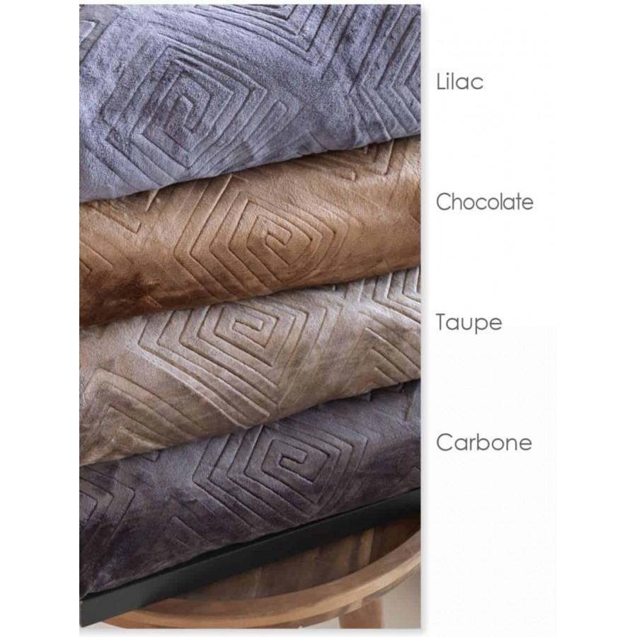 Κουβέρτα Microflannel Ανάγλυφη 160x240 Meandro Carbone