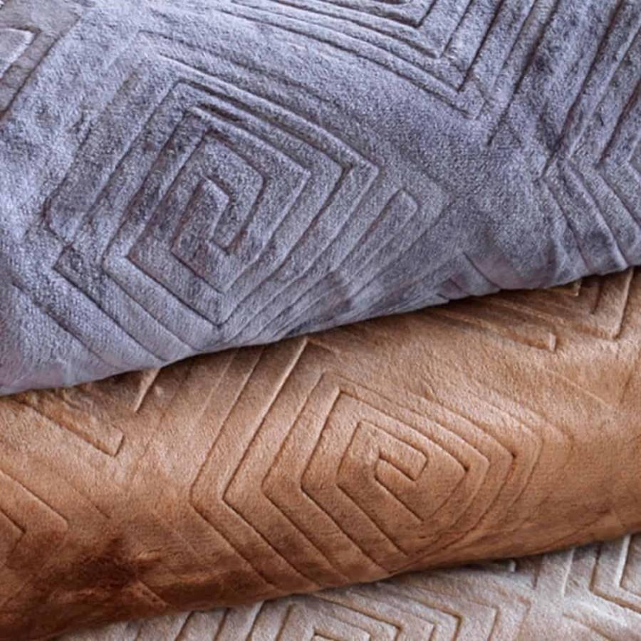Κουβέρτα Microflannel Ανάγλυφη 160x240 Meandro Lilac