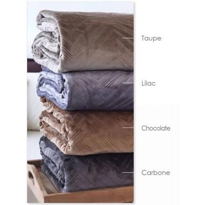 Κουβέρτα Microflannel Ανάγλυφη Υπέρδιπλο Angolo Choco