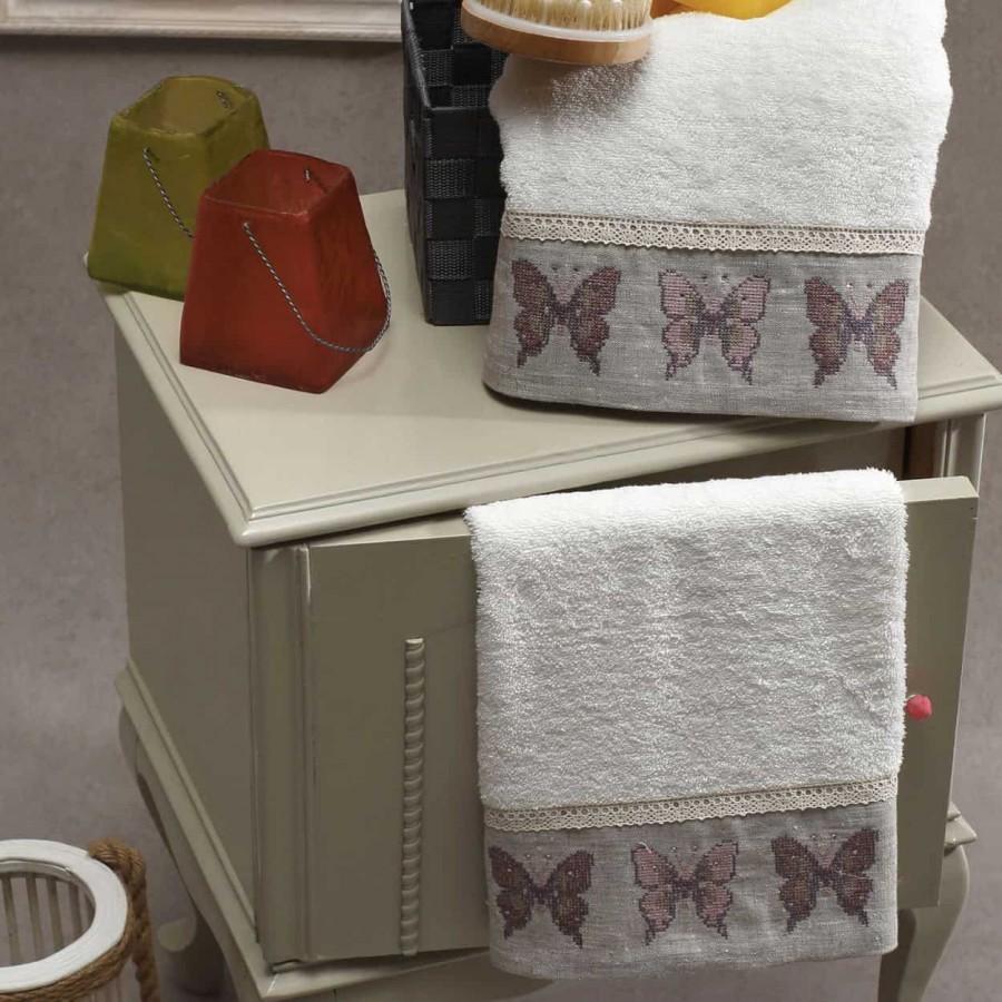 Σετ Πετσέτες 2 Τεμ Κεντημένες Με Κρυσταλλάκια Butterfly Cream