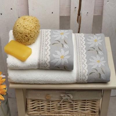 Σετ Πετσέτες 2 Τεμ Κεντημένες Με Κρυσταλλάκια Daisies Cream