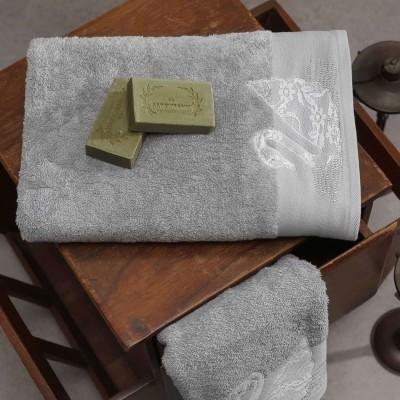 Σετ Πετσέτες 2 Τεμ Κεντημένες Με Κρυσταλλάκια Swan Silver