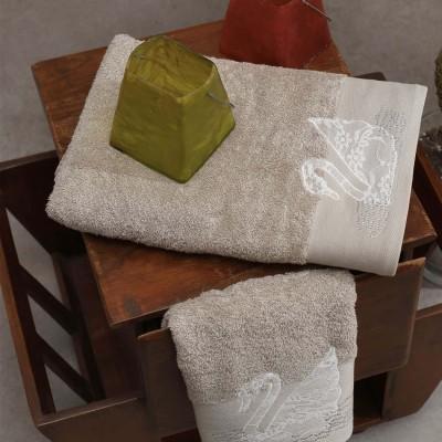 Σετ Πετσέτες 2 Τεμ Κεντημένες Με Κρυσταλλάκια Swan Taupe
