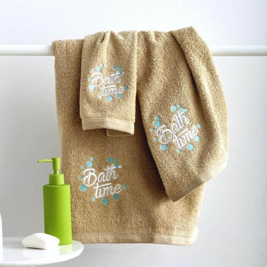 Σετ Πετσέτες 3 Τεμαχίων Με Kέντημα Bath Time Beige