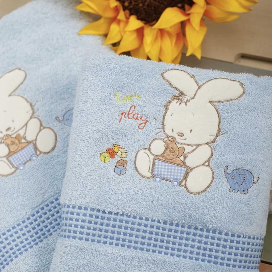 Σετ Πετσέτες Bebe Με Κέντημα Bunny Blue