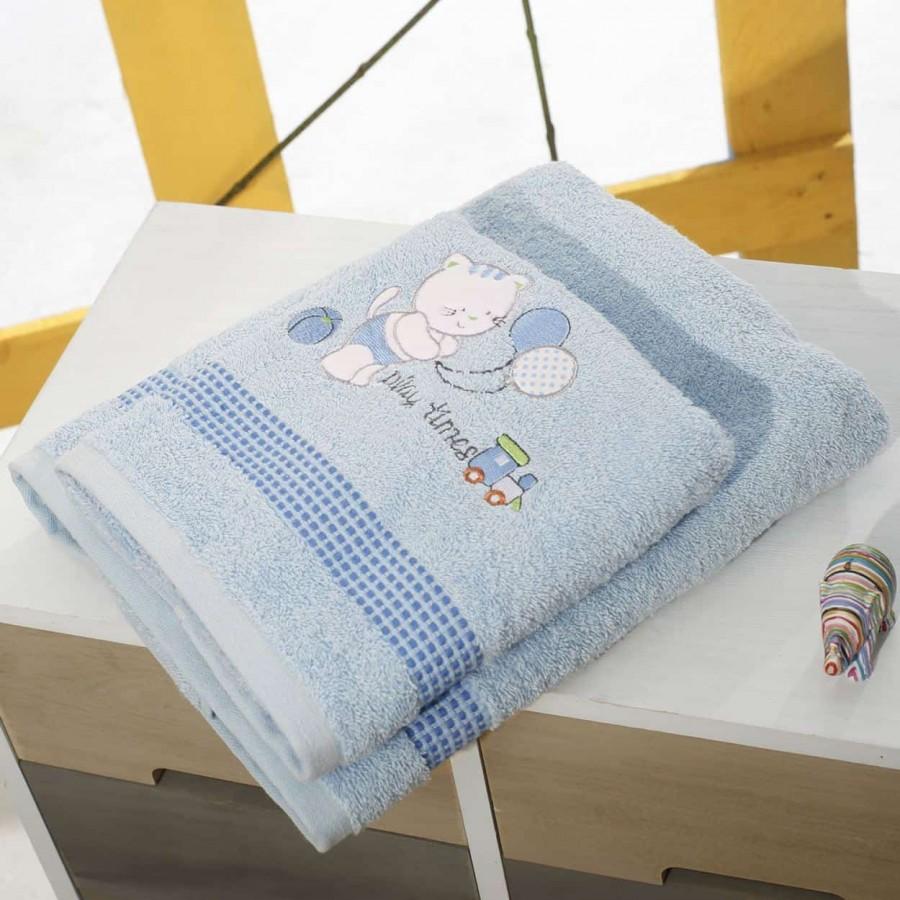 Σετ Πετσέτες Bebe Με Κέντημα Kitten Blue