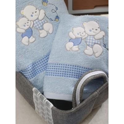 Σετ Πετσέτες Bebe Με Κέντημα Teddy Bear Blue