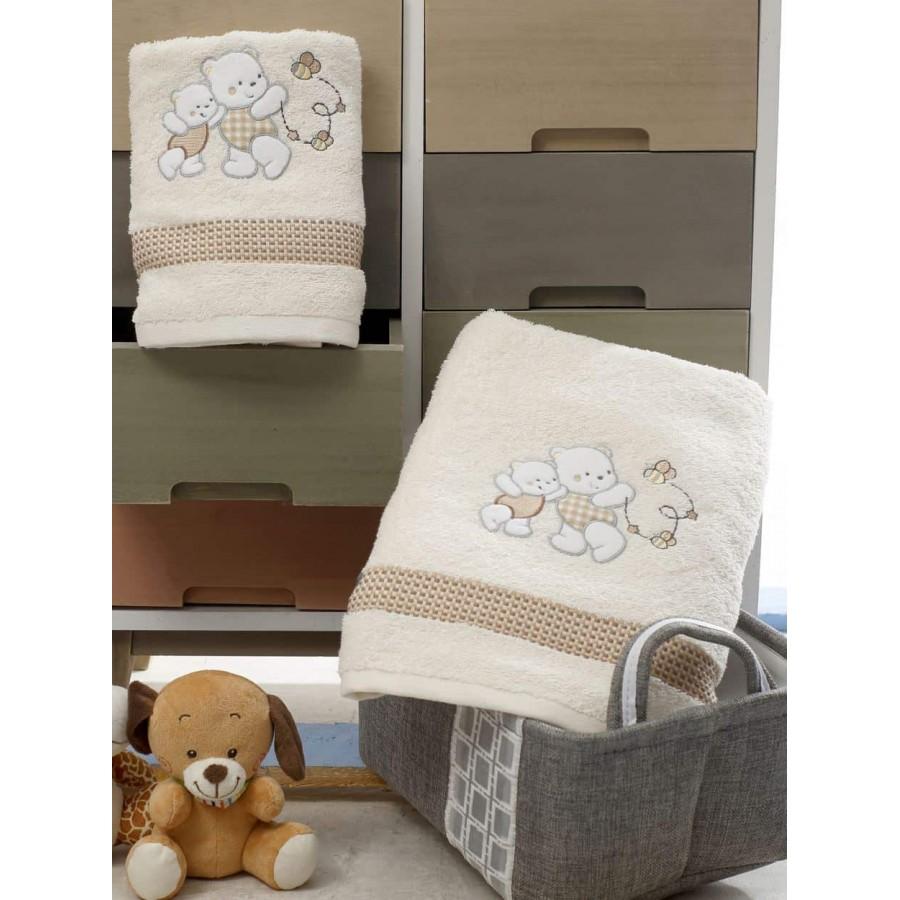 Σετ Πετσέτες Bebe Με Κέντημα Teddy Bear Cream
