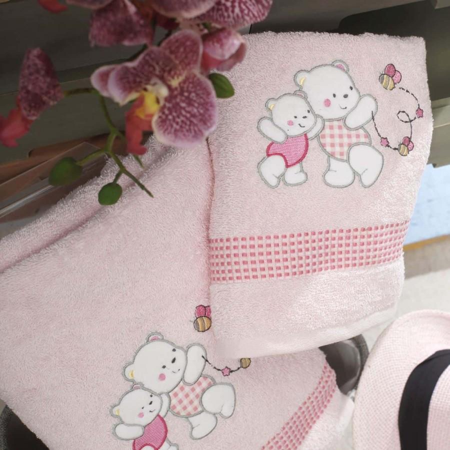Σετ Πετσέτες Bebe Με Κέντημα Teddy Bear Pink