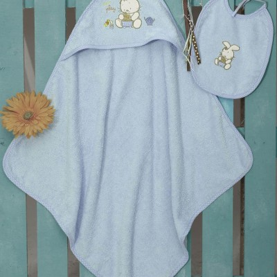 Βρεφική Κάπα Bebe Και Σαλιάρα (Σετ) Bunny Blue