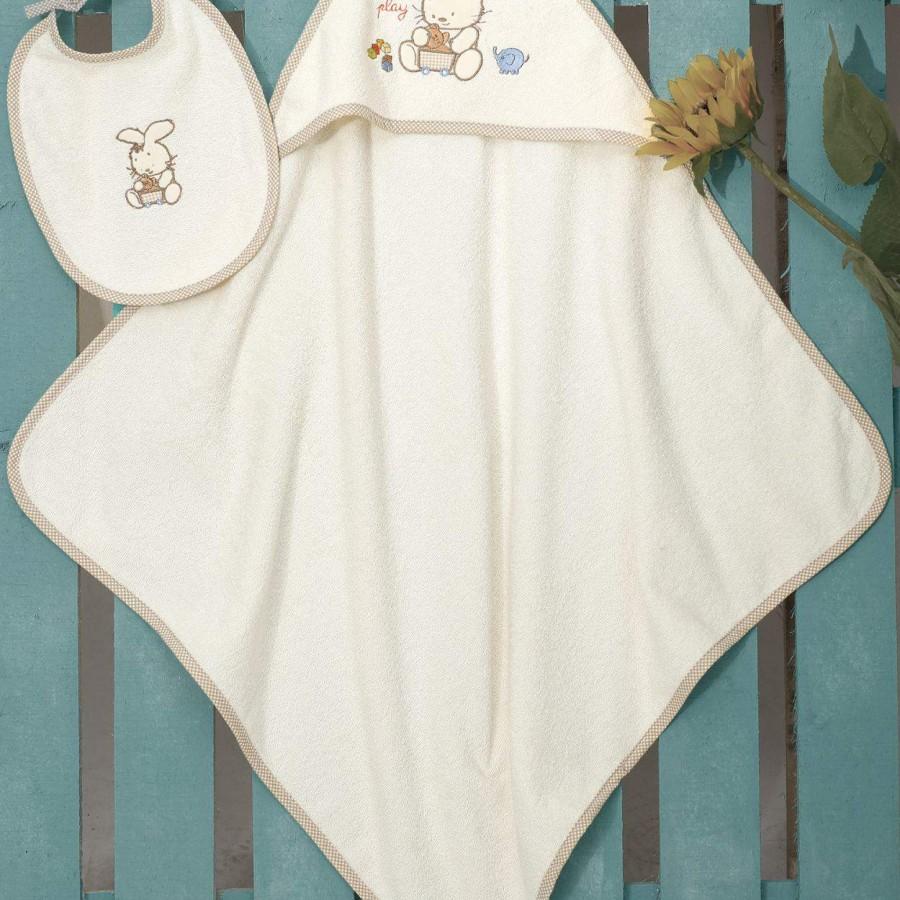 Βρεφική Κάπα Bebe Και Σαλιάρα (Σετ) Bunny Cream