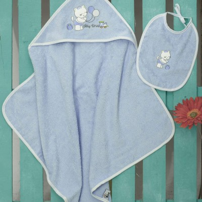 Βρεφική Κάπα Bebe Και Σαλιάρα (Σετ) Kitten Blue