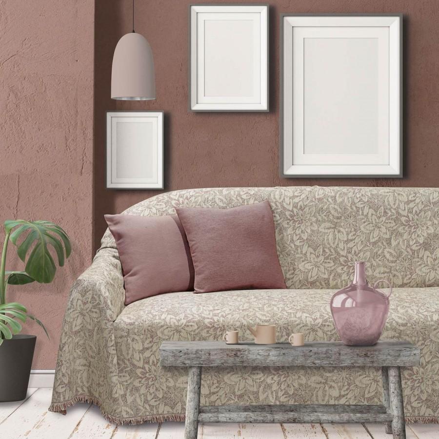Ριχτάρι Τριθέσιου Καναπέ Ροζ-Εκρού 0204 Das Home 180x300