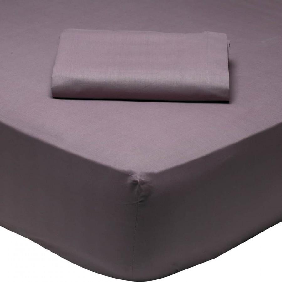 Σεντόνι Υπέρδιπλο Μονόχρωμο με λάστιχο Δαμασκηνί 1010 Das Home 170x200+35