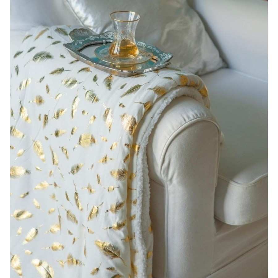 Κουβέρτα Καναπέ Sparkle Metallic Gold Melinen 130X170