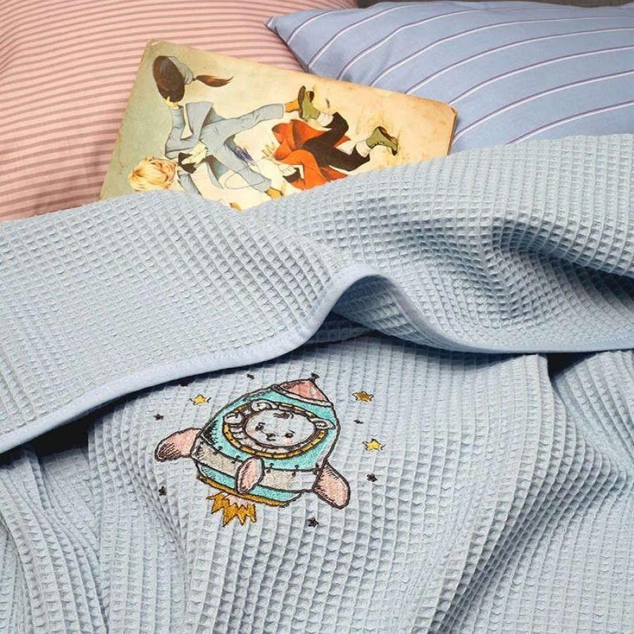 Κουβέρτα Πικέ Αγκαλιάς Riviera Astronaut Siel Melinen 80Χ110