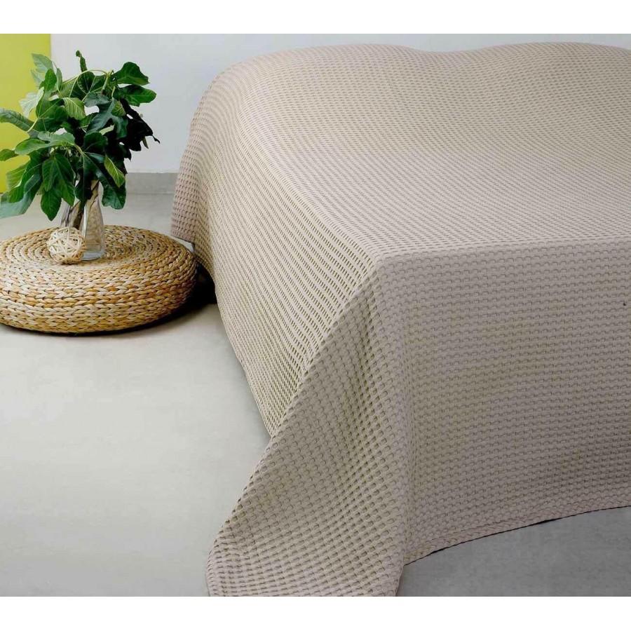 Κουβέρτα Πικέ King Size Patmos 20 Linen/Beige Melinen 240X260