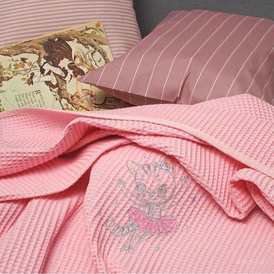 Κουβέρτα Πικέ Κούνιας Riviera Cat Pink Melinen 100Χ150