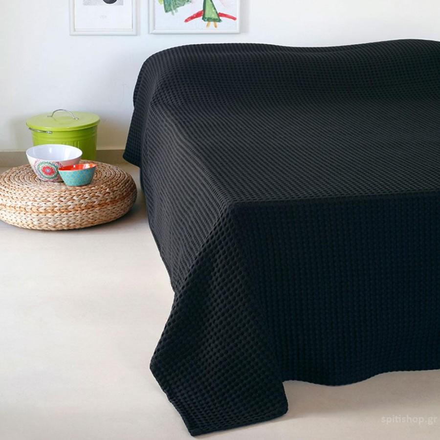 Κουβέρτα Πικέ Μονή Patmos 20 Black Melinen 170Χ240