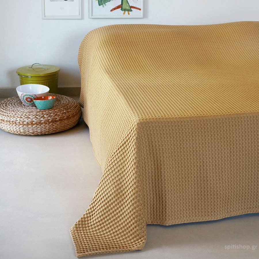 Κουβέρτα Πικέ Μονή Patmos 20 Mustard Melinen 170Χ240