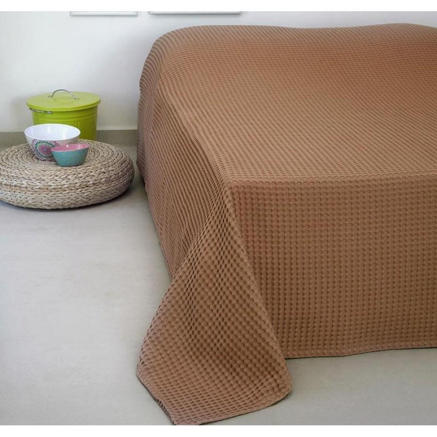 Κουβέρτα Πικέ Μονή Patmos 20 Terracotta Melinen 170Χ240