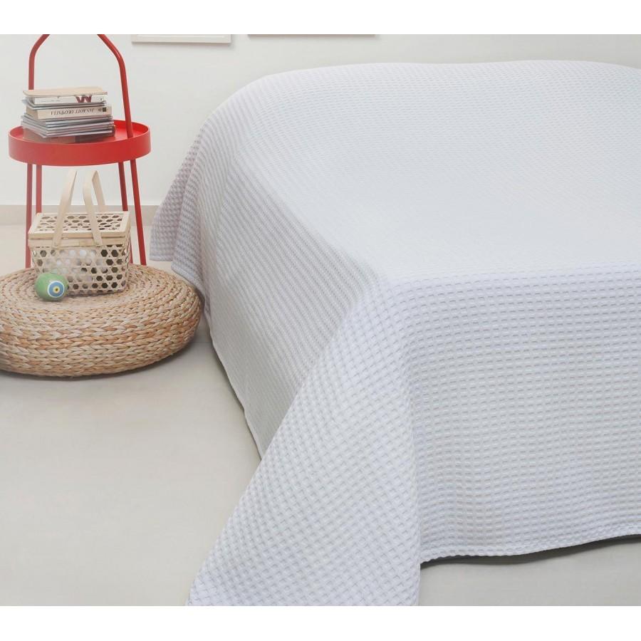 Κουβέρτα Πικέ Μονή Patmos White Melinen 170Χ240