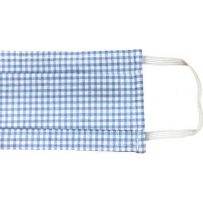 Μάσκα Βαμβακερή Check Light Blue Melinen