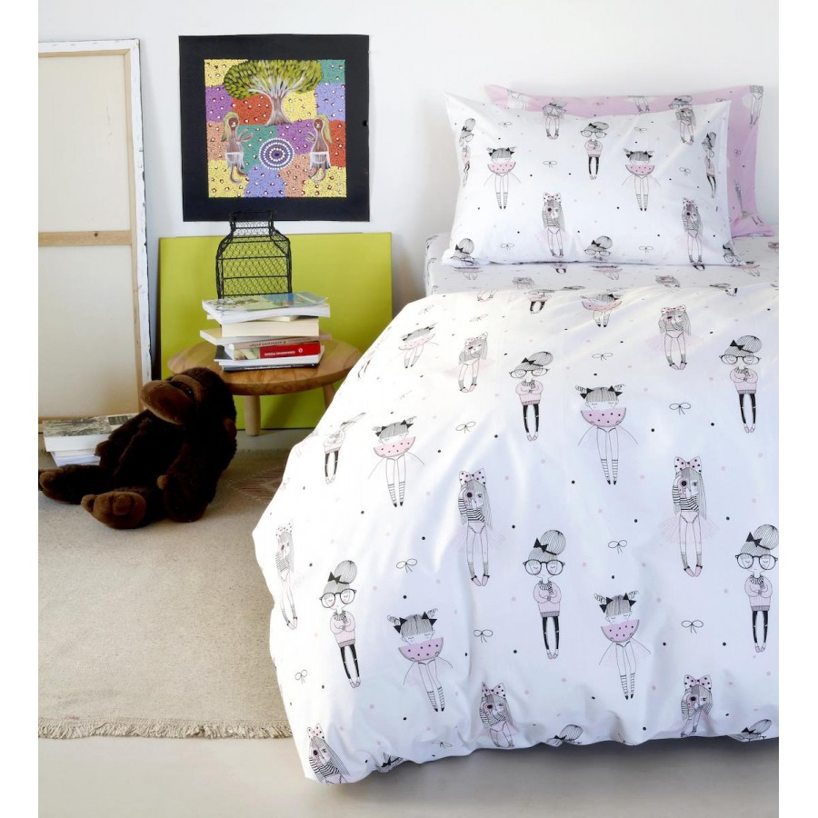 Μαξιλαροθήκες Kids Cute White Melinen 52X72