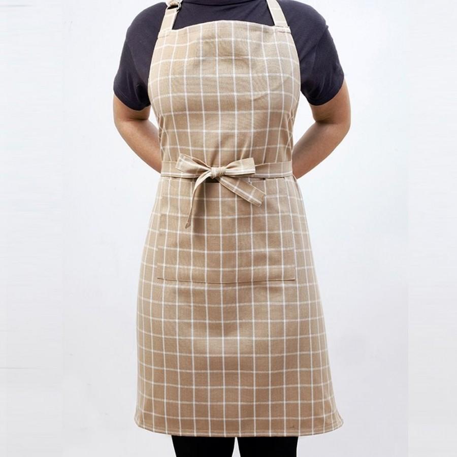 Ποδιά Κουζίνας Small Check Beige Melinen 60X76