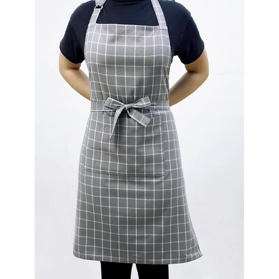 Ποδιά Κουζίνας Small Check Grey Melinen 60X76