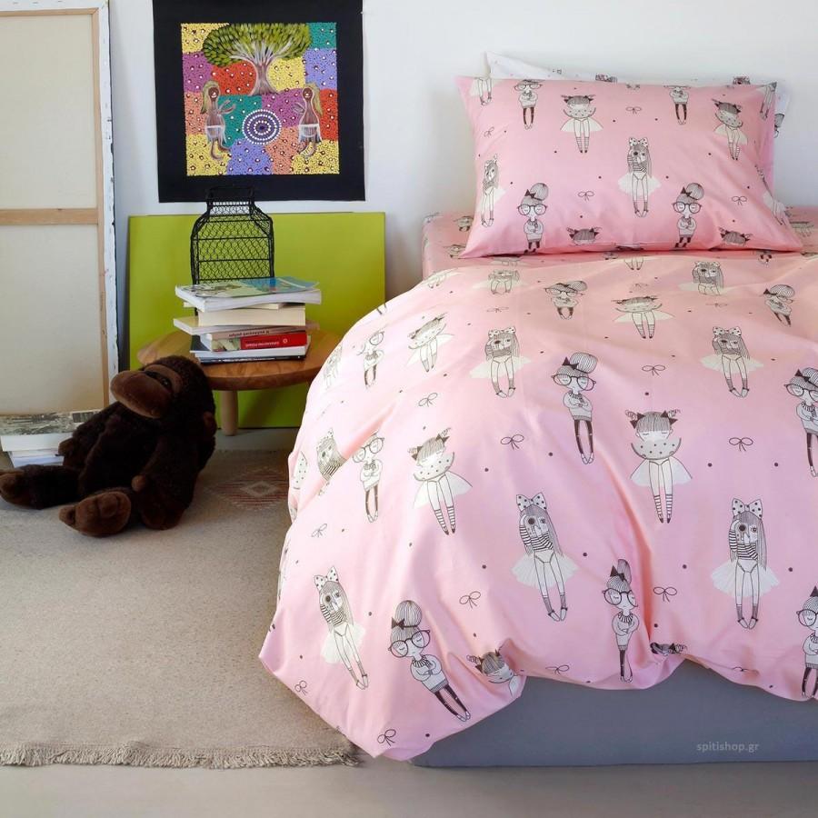 Σετ Πάπλωμα Μονό Kids Cute Pink Melinen 160X240
