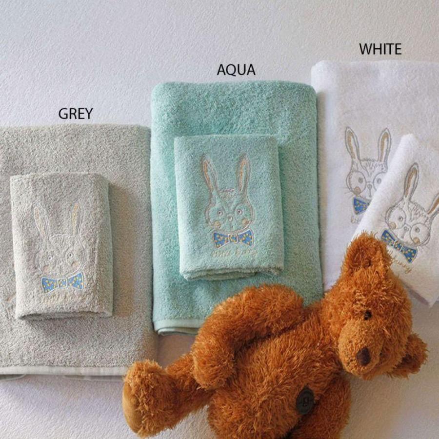 Σετ Παιδικές Πετσέτες Bunny Grey Melinen 40X60 - 70X140
